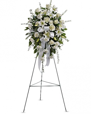 Sentiments of serenity stand standing spray all white in Berkley, MI | DYNASTY FLOWERS & GIFTS