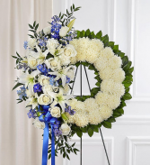 Serene Blessing Standing Wreath - Blue & White Standing Sprays & Wreaths