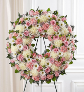 Serene Blessing Standing Wreath - Pink & White Standing Sprays & Wreaths