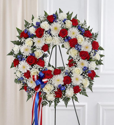 Serene Blessing Standing Wreath - Red, White & Blu Standing Sprays & Wreaths