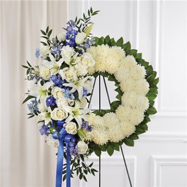 Serene Blessings Blue & White Standing Wreath Sympathy Arrangement