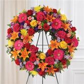 Serene Blessings Bright Standing Wreath Sympathy Arrangement
