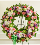 Serene Blessings Pastel Standing Wreath Sympathy Arrangement