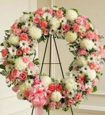 Serene Blessings Pink & White Standing Wreath EF51