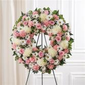 Serene Blessings Pink & White Standing Wreath Sympathy Arrangement