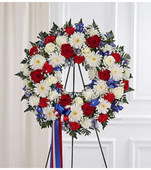 Serene Blessings Red, White & Blue Standing Wreath Arrangement in Croton On Hudson, NY | Cooke's Little Shoppe Of Flowers