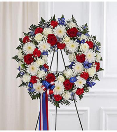 Serene Blessings Red White Blue Standing Wreath Arrangement In Croton On Hudson Ny Cooke S Little Shoppe Of Flowers