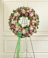 Serene Blessings Standing Wreath - Pastel Funeral