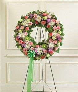 Serene Blessings Standing Wreath - Pastel Funeral