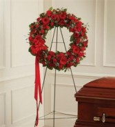 Serene Blessings Standing Wreath - Red  Funeral