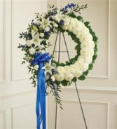 Serene Blessings Standing Wreath-Blue & White Funeral