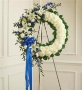 Serene Blessings Standing Wreath-Blue & White Funeral
