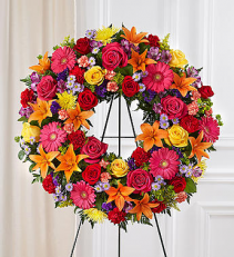 Serene Blessings™ Standing Wreath- Bright funeral spray