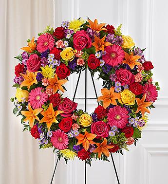 Serene Blessings™ Standing Wreath- Bright funeral spray