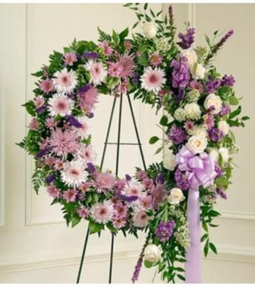 Serene Blessings Standing Wreath - Lavender Sympathy Arrangement