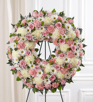 Serene Blessings Standing Wreath- Pink & White