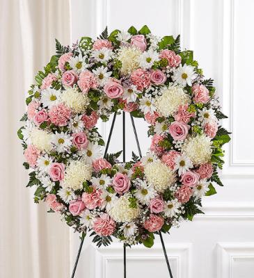 Serene Blessings™ Standing Wreath- Pink & White Sympathy Arrangement