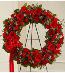 Serene Blessings Standing Wreath - Red Sympathy Arrangement