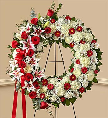 Serene Blessings Standing Wreath- Red, White standing spray