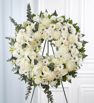 Serene Blessings™ Standing Wreath- White Sympathy Arrangement in Croton On Hudson, NY | Cooke's Little Shoppe Of Flowers