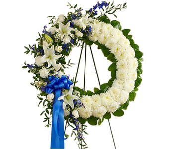 Serene Blessings White & Blue Wreath
