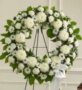 Serene Blessings White Standing Wreath SYMPATHY WREATH