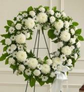 Serene Blessings White Standing Wreath SYMPATHY WREATH
