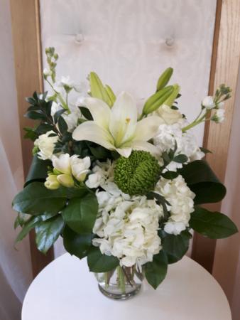 Serene Cream and Green  Vase Arrangement