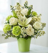Serene Green Garden Bouquet Expresses Peaceful Joy Filled  Feeling..