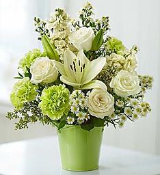 Serene Green Garden Bouquet Expresses Peaceful Joy Filled  Feeling..