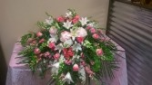 Serene Pink & White Casket Spray