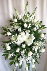 Serenity All White Funeral Spray