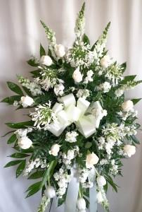 Serenity All White Funeral Spray