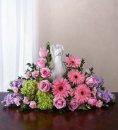 Serenity Angel Arrangement Pink and Purple sympathy flowers