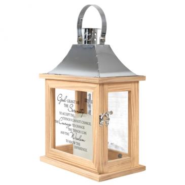 """Serenity Prayer"" Wood/Sliver LED Lantern"