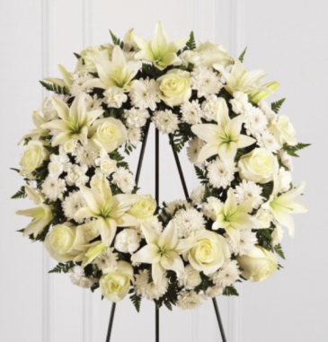 Serenity white wreath  Funeral Standing Spray