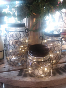 Set of 3 Mason Jar Fairy Lights