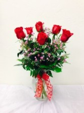 Sexy Half Dozen Red Roses Arrangement