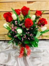 Sexy Half Dozen w/ Tulips Red Roses Arrangement
