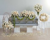 SF 129-12 Two-Piece Rose Casket Spray with Garland
