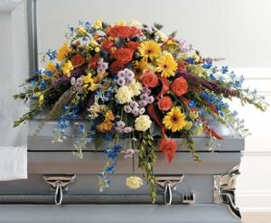 SF105-11 Colorful Traditional Casket Spray in Walkersville, MD | ABLOOM LTD