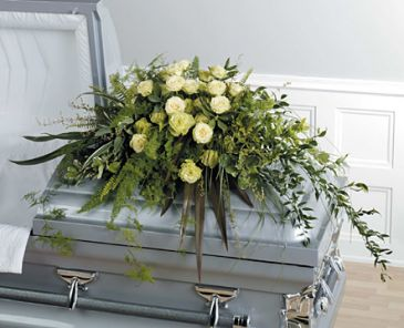 SF121-11 Foliage and Rose Casket Spray