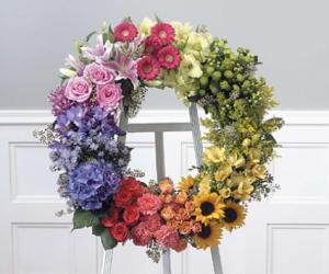 SF139-21 Multi-colored Wreath on easel in Walkersville, MD   ABLOOM LTD FLOWERS AND EVENTS