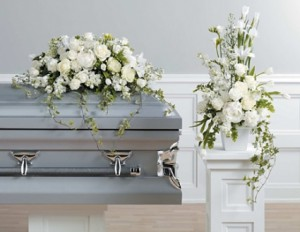SF6-11 White Casket spray in Walkersville, MD | ABLOOM LTD FLOWERS AND EVENTS