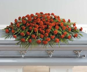 SF73-11 Full Couch Red Carnation Casket Spray in Walkersville, MD | ABLOOM LTD FLOWERS AND EVENTS
