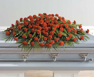 SF73-11 Full Couch Red Carnation Casket Spray