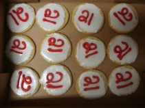 Dozen Iced Sugar Cookies with 21 on them NEED 30 HOUR NOTICE FOR DELIVERY.