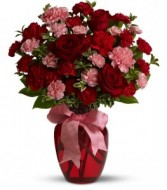 ~Forever in Love~6 red roses and  carnations(color of carnations may vary)  with bow all arranged in red vase!