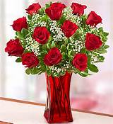 Dozen Red Roses ARRANGED IN A VASE with baby's breath! (VASE MAY BE RED OR CLEAR)