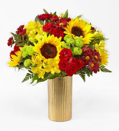 SHADES OF AUTUUM BOUQUET AUTUUM FLOWERS IN GOLD METAL VASE